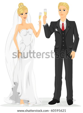 Newlyweds Clinking Their Glasses of Wine as a Toast to Their Wedding - Vector - stock vector