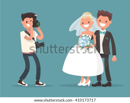 Newlyweds photographing . Bride and groom. Occupation of wedding photographer. - stock vector