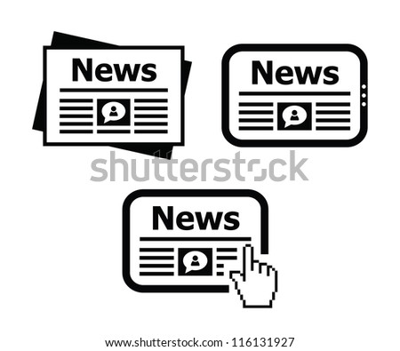 Newpaper, news on tablet icons set - stock vector