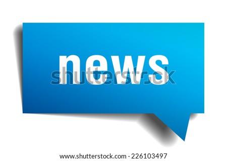 news blue 3d realistic paper speech bubble - stock vector