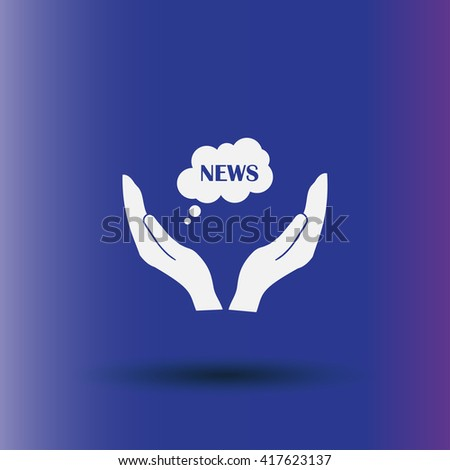 news cloud on a hand icon, Vector illustration. Flat design style1 - stock vector
