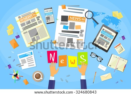 News Editor Desk Workspace, Concept Making Newspaper Creating Article Writing Journalists Flat Vector Illustration - stock vector