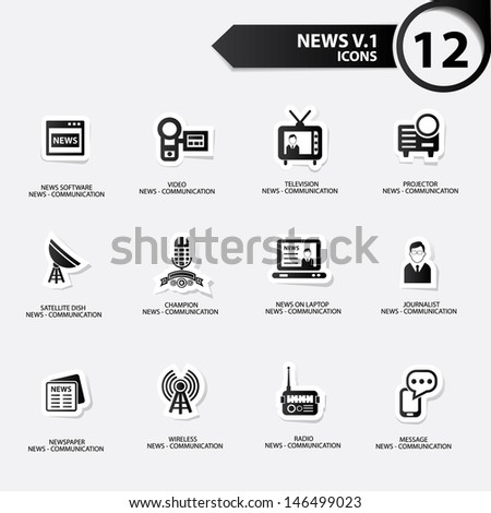 News icon set 1,black version vector - stock vector