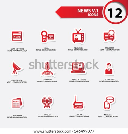 News icon set 1,red version vector - stock vector