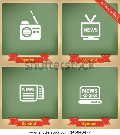 News icons on blackboard,vector - stock vector