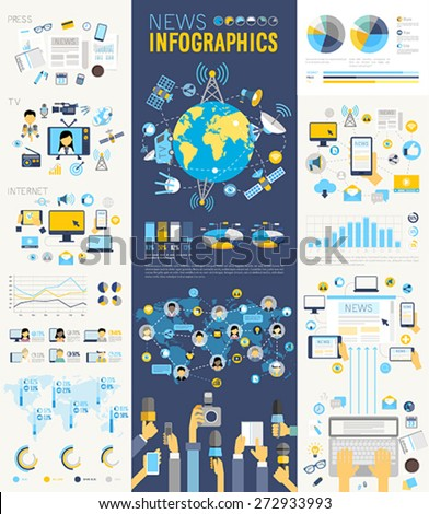 News Infographic set with charts and other elements. Vector illustration. - stock vector