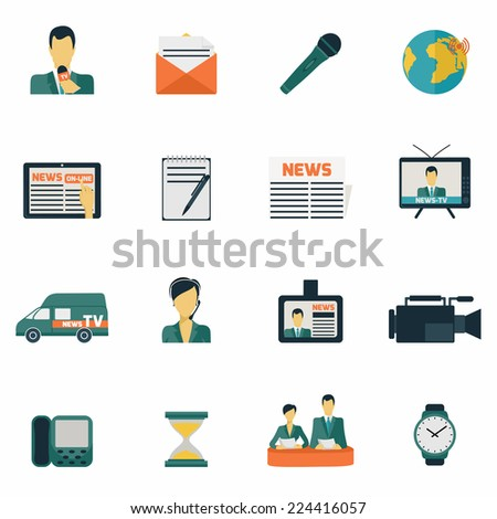 News media communications flat icons set isolated vector illustration - stock vector