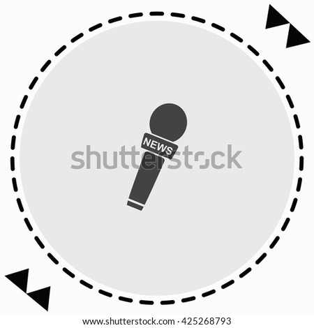 News microphone icon Flat Design. Isolated Illustration. - stock vector
