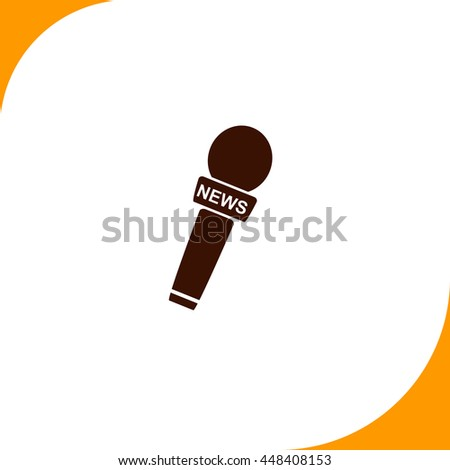 News microphone sign. Brown icon on white background - stock vector