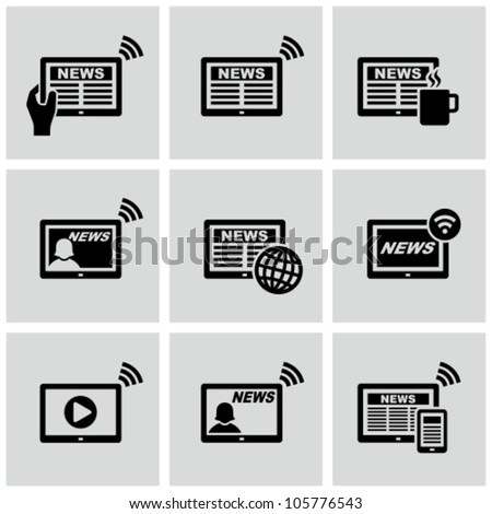 News on tablet pc vector icons set. Online news. - stock vector
