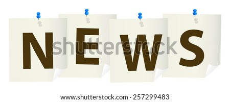 news pushpin sign with blue pushpins - stock vector