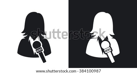 News reporter icon, vector. Two-tone version on black and white background - stock vector