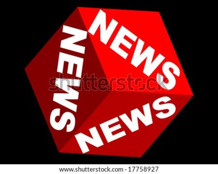 NEWS text on box - stock vector
