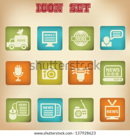 News vintage icons,vector - stock vector
