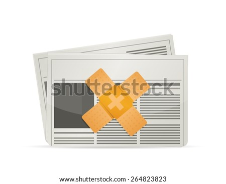 newsletter band aid fix solution concept illustration design over white background - stock vector