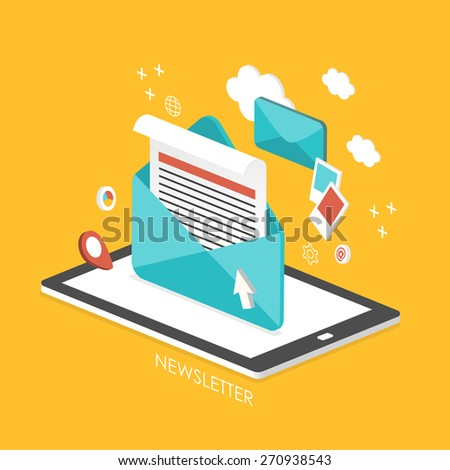 newsletter concept 3d isometric infographic with tablet showing an email  - stock vector