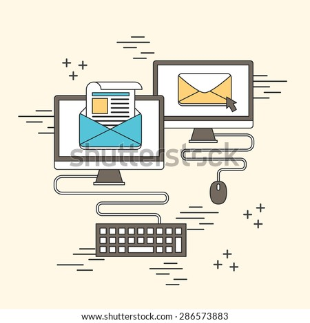 newsletter concept: e-mail and computer in line style - stock vector