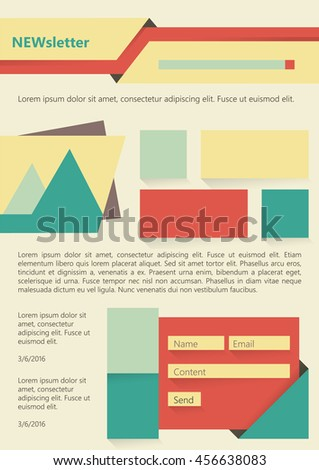 Newsletter or website page layout. Can be used in business and non-profit organizations. Vector illustration in flat style - stock vector