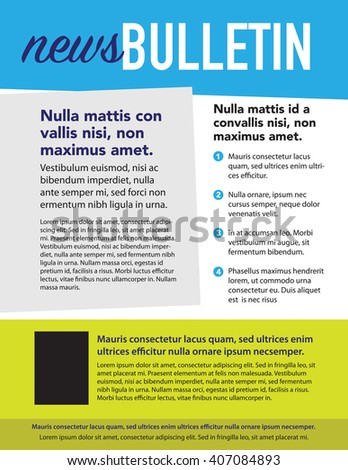 Newsletter with picture box and numbered list - stock vector