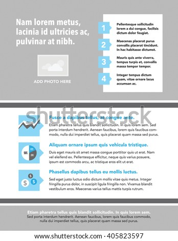 Newsletter with picture box, diagram, and numbered list - stock vector