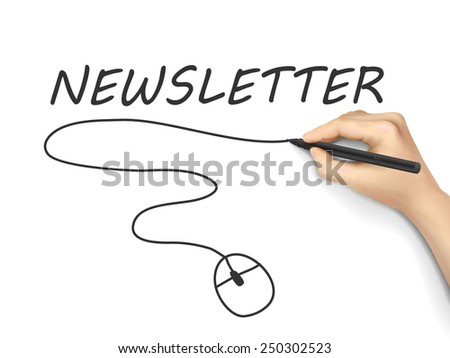 newsletter word written by hand on white background - stock vector