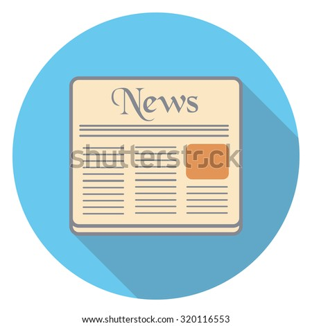 newspaper flat icon in circle - stock vector
