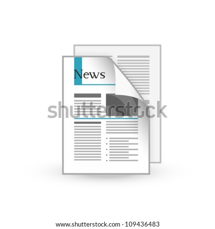 Newspaper icon - stock vector