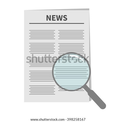 Newspaper icon Optic glass instrument Magnifier Search Flat design Isolated White background Vector illustration - stock vector