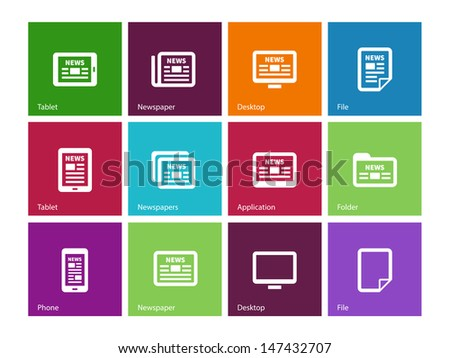 Newspaper icons on color background. Wireless technology. Vector illustration. - stock vector