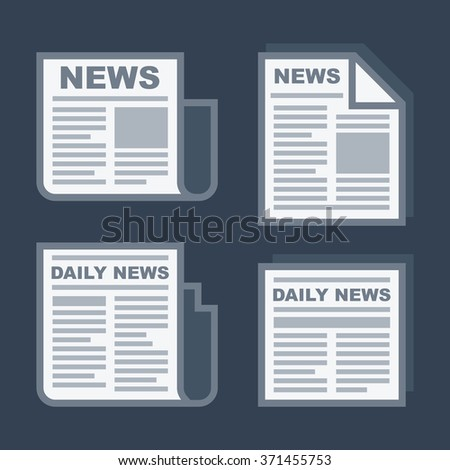 Newspaper Icons Set on Dark Background. Vector - stock vector