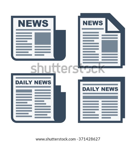 Newspaper Icons Set on White Background. Vector - stock vector