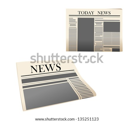 Newspaper icons with detailed elements isolated on white background. Jpeg version also available in gallery - stock vector