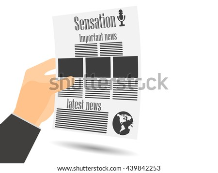 Newspaper in hand. Important news. Vector illustration. - stock vector