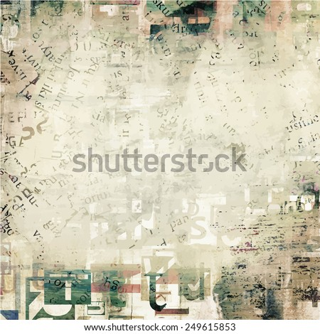 newspaper, magazine grunge letters background - stock vector