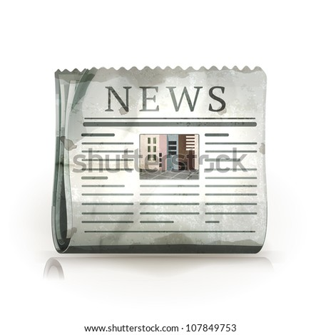 Newspaper, old-style vector isolated - stock vector