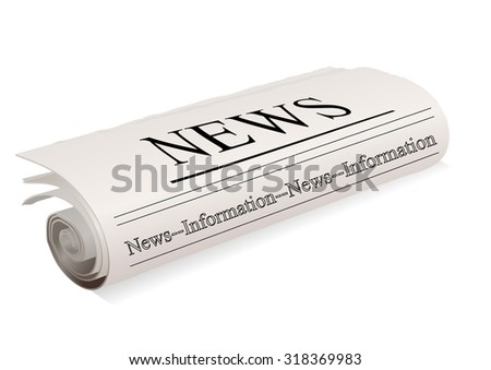 newspaper on a white - stock vector