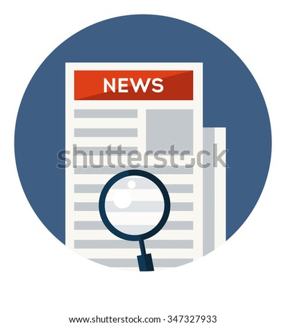 Newspaper with Loupe flat icon in circle isolated on white background. Vector illustration - stock vector