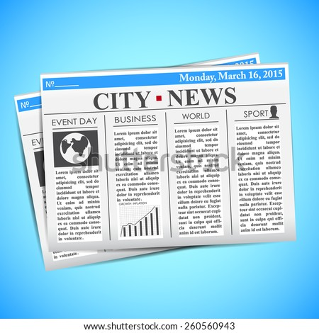 Newspapers on a blue background - stock vector