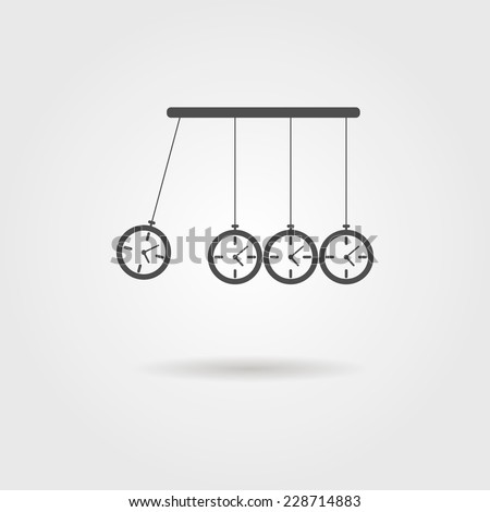 Newton's Cradle icon, concept of procrastination. vector illustration - stock vector