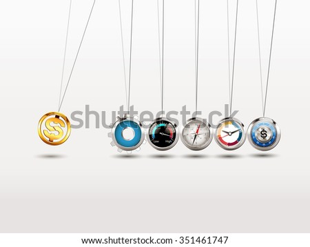 Newtons cradle - Strategy investment process concept - stock vector