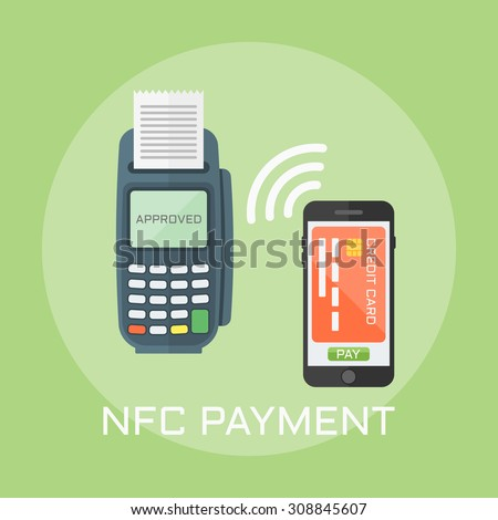 Nfc payment flat design style vector illustration, pos terminal confirms the payment using a smartphone - stock vector