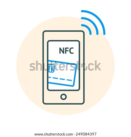NFC technology concept. Linear illustration of Smartphone with credit card on its screen and radio wave, processing of mobile payments. Vector illustration isolated on white background. - stock vector
