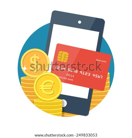 NFC technology concept. Smartphone with credit card on its screen money, processing of mobile payments. Vector - stock vector
