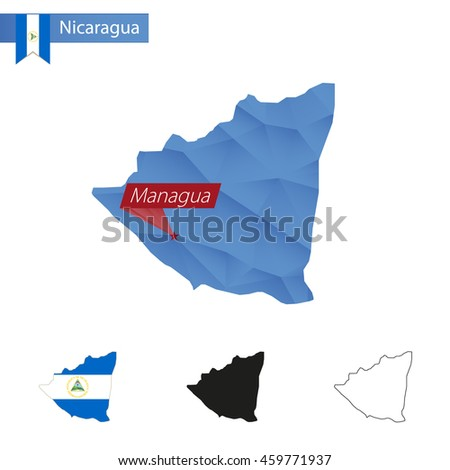 Nicaragua blue Low Poly map with capital Managua, versions with flag, black and outline. Vector Illustration. - stock vector