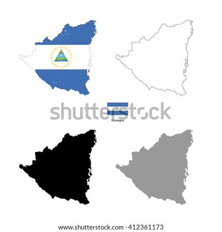Nicaragua country black silhouette and with flag on background, isolated on white - stock vector
