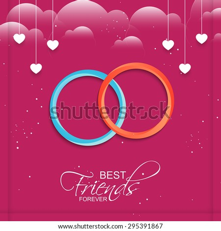 Nice and beautiful vector abstract for Best Friends Forever in a sparkling and cloudy pink colour background with white illustrated hearts hanging. - stock vector