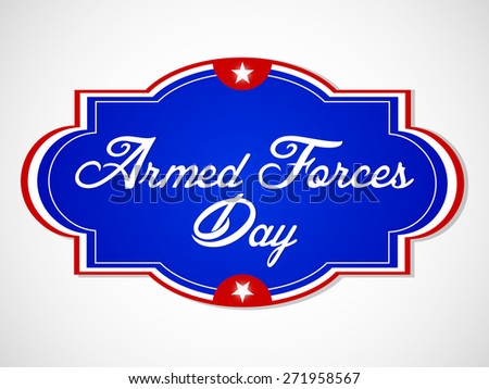 nice and creative abstract for Armed Forces Day with blue colour label in a beautiful white colour gradient background. - stock vector