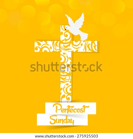 Nice and creative abstract for Pentecost Sunday with nice and beautiful orange color cross with holy spirit pigeon in a orange color creative background. - stock vector