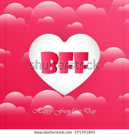 Nice and creative vector abstract for BFFin a creative white coloured heart in a beautiful red coloured hearts in background. - stock vector