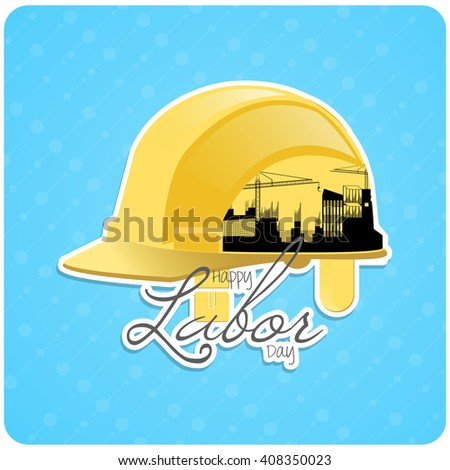 nice and creative vector abstract for Labour Day with nice and creative labour helmet illustration in a textured blue coloured background. - stock vector